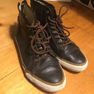 Frye black leather high top sneakers